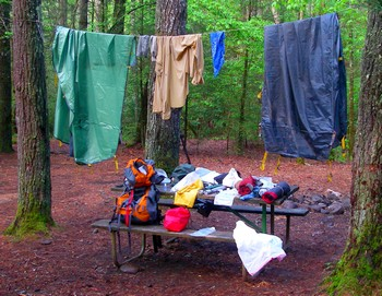 Backpacking gear drying on Hazel Creek